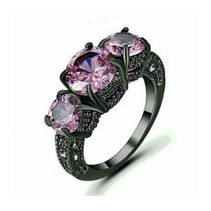 Black Rhodium Plated Pink Sapphire Trinity Ring